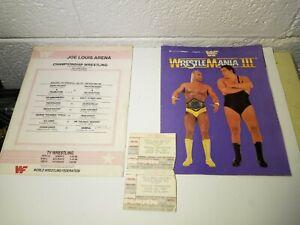 2 Wrestlemania 3 III Event Ticket Stubs 1987 Hulk Andre Wrestling Ticket Iconic