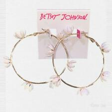 Betsey Johnson Daisy Chain Gold Tone Large Hoop Earrings