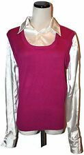 NWT George Ivory & Plum 2 in One Collared Silky Shirt & Pullover Vest Sweater L