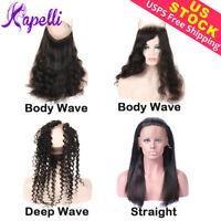 10A Real Brazilian Virgin Human Hair 360 Lace Frontal Body Wave Natural Black