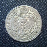 AUSTRIA / LEOPOLD I. / SILVER 3 KREUZER / 1696 CB