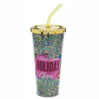 Disney Mickey Mouse Mid Century Brights Icon Gold Holiday Tumbler w/Straw NWT