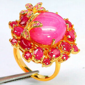 NATURAL 13 X 16 mm. PINK WITH RED RUBY & PINK SAPPHIRE RING 925 STERLING SILVER