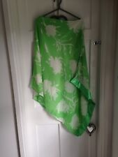 Vibrant Green And White One Shoulder Floaty Top