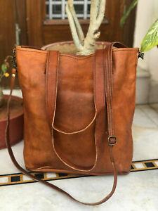 Women's Tote Purse Vintage Genuine Leather Shoulder Handbag Shopping Casual Bag