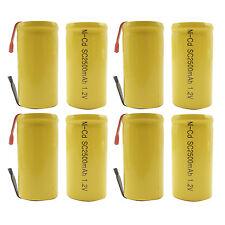 8PCS Sub C 2500mAh 1.2V Ni-CD Rechargeable Battery Tabs Power Tools Pack Yellow