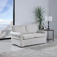 Beige Classic Skirted Linen Fabric Upholstered Living Room Loveseat