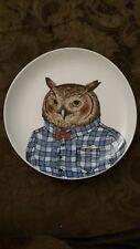 "Rachel Kozlowski West Elm Dapper Animal Plate Owl 8.5"""