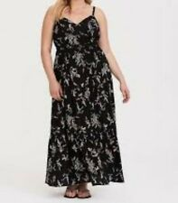 26f37b5e2a Torrid Black Floral Tiered Challis Maxi Dress 1x 14 16 #88431