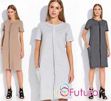 Womens Shift Dress Short Sleeve Crew Neck Midi Dress Plus Sizes 8-18 FA488