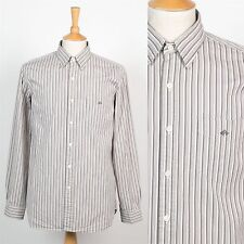 RALPH LAUREN STRIPED MENS SHIRT GREY & WHITE PREPPY CASUAL M