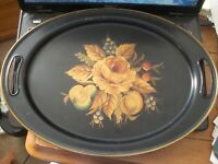 Vintage Pilgrim Art Tole Gold Rose Fruit Oval Hand Painted Metal Tray 18""