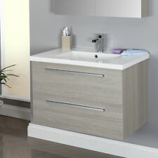 800mm Wall Hung Bathroom Vanity Unit & Basin Single Tap Hole Grey Ash Modern