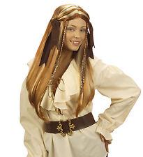 Piratas Peluca con coletas piratenfrau marrón largo Mujer