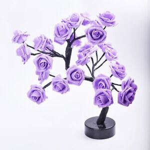 LED Table Lamp Rose Flower Tree USB Home Christmas Party Decor Gift