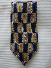 Mens BURTON wide neck tie necktie - blue yellow gold chequer