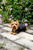 LAYING DOWN YORKSHIRE TERRIER PUPPY DOG NEW LIFE LIKE REALISTIC STATUE FIGURINE