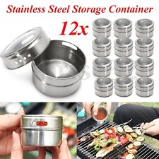 12 X Magnetic Spice Tins Stainless Steel Storage Container Jars Clear Lid