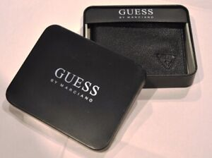 NEW IN BOX~GUESS BY MARCIANO GENUINE LEATHER BLACK ? LOGO WALLET PASSCASE~ GREAT