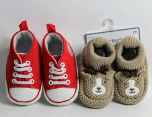 2 Pairs Baby Shoes- OSU Buckeyes  0-6 Mo and Carter's Brown Bear Slippers NB