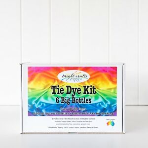 6 Big Bottles Tie Dye Kit 6 rainbow colours real fabric dyes for bright colours