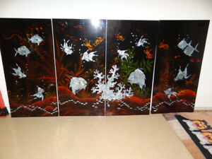 4 Chinese Abalone Asian Inlaid Black Lacquered Wall Panels Koi Fish 40h x 20w
