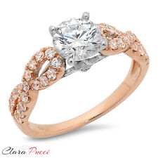 1.40CT Round Cut halo Wedding Engagement Ring Bridal band 14k White/Rose Gold