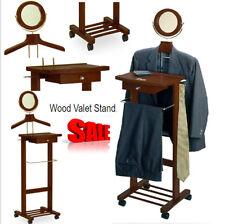 Wardrobe Valet Stand w/ Cheval Mirror Coat Tree Men Butler Clothes Suit Tie Rack