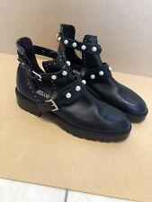 Zara Black Chunky Biker Ankle Boots w Studs Pearl Embellishment - Size 41 / 8