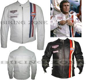 STEVE McQUEEN STYLE MENS WHITE / BLACK MOTORBIKE / MOTORCYCLE LEATHER JACKET