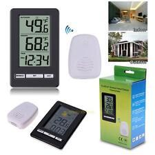 Digital Wireless Indoor/Outdoor Thermometer Temperature Sensor W/ Desktop Clock