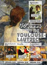 Grenada 2014 MNH Henri de Toulouse-Lautrec 150th 4v M/S I Vincent Gogh Stamps