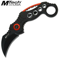 "New MTech MT-529BK 7"" Black & Red Tactical Stainless Folding Folder Karambit EDC"