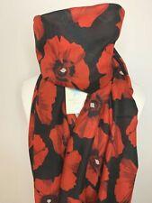 Riesen Mohn Feld Rot & Schwarz Weiche Blume Schal Schal Wrap Geschenk Mohnblumen vorhanden