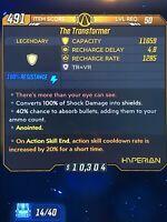 Borderlands 3 Legendary Lvl 50 Anointed Transformer Shield Xbox