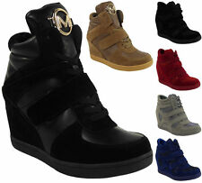 Faux Suede Wedge Ankle Boots Lace Up Shoes for Women