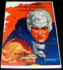 BENICIA CALIFORNIA HIGH SCHOOL vs EMERYVILLE 1948 FOOTBALL GAME PROGRAM