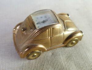 Heavy Novelty Miniature beetle Car Clock Quartz, Gold Colour
