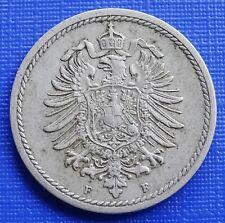 German 5 Pfennig Coin~1874 (F) Wilhelm I~KM#3~Copper Nickel 2.5g~VF~#432