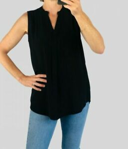 Marks & Spencer M&S Women Black Relaxed Fit Sleeveless Notch Neck Shell Top