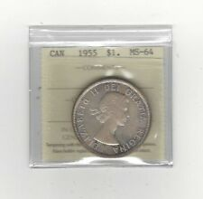 **1955**, ICCS Graded Canadian Silver Dollar **MS-64**