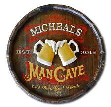 Man Cave Personalized Quarter Barrel Wood Sign, Man Cave, Bar, Office, Pub