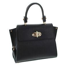IO.IO.MIO Italy Trapez Handtasche leicht echt Leder City Satchel Bag schwarz