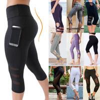Women's High Waist Yoga Pants Pocket Fitness Sports Capri Leggings Plus Size OB