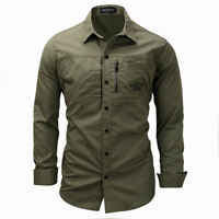 Military Mens Shirt Slim Fit Long Sleeve Cargo Army Outdoor Sport Work Shirts