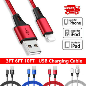 6ft 10ft Cable For iphone 12 Pro 11 XR XS Max X SE USB Fast Charge Charger Cord