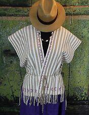 Hand Woven Striped Poncho Jacket Huipil San Juan Colorado Mexico Santa Fe Style