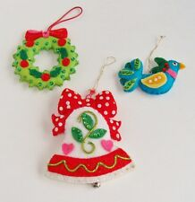 Vintage Handmade Embellished Felt Christmas Tree Ornaments Bird Wreath Bell