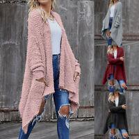 Women Casual Long Sleeve Cardigan Irregular Hem Solid Pockets Tops Blouse Coat