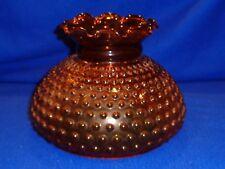 """Vintage Amber Glass Hobnail Oil Kerosene Hurricane Lamp Shade Globe 6.75"""" Fitter"""